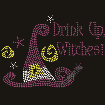 Drink up witches rhinestone transfer