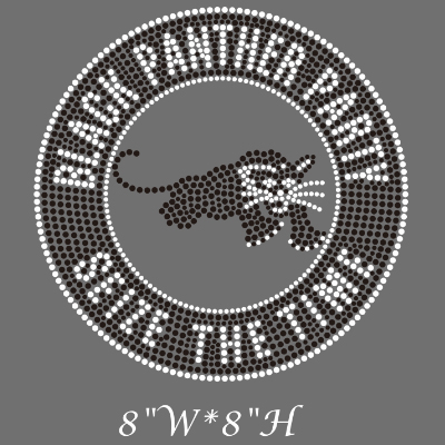 black panther party rhinestone transfer