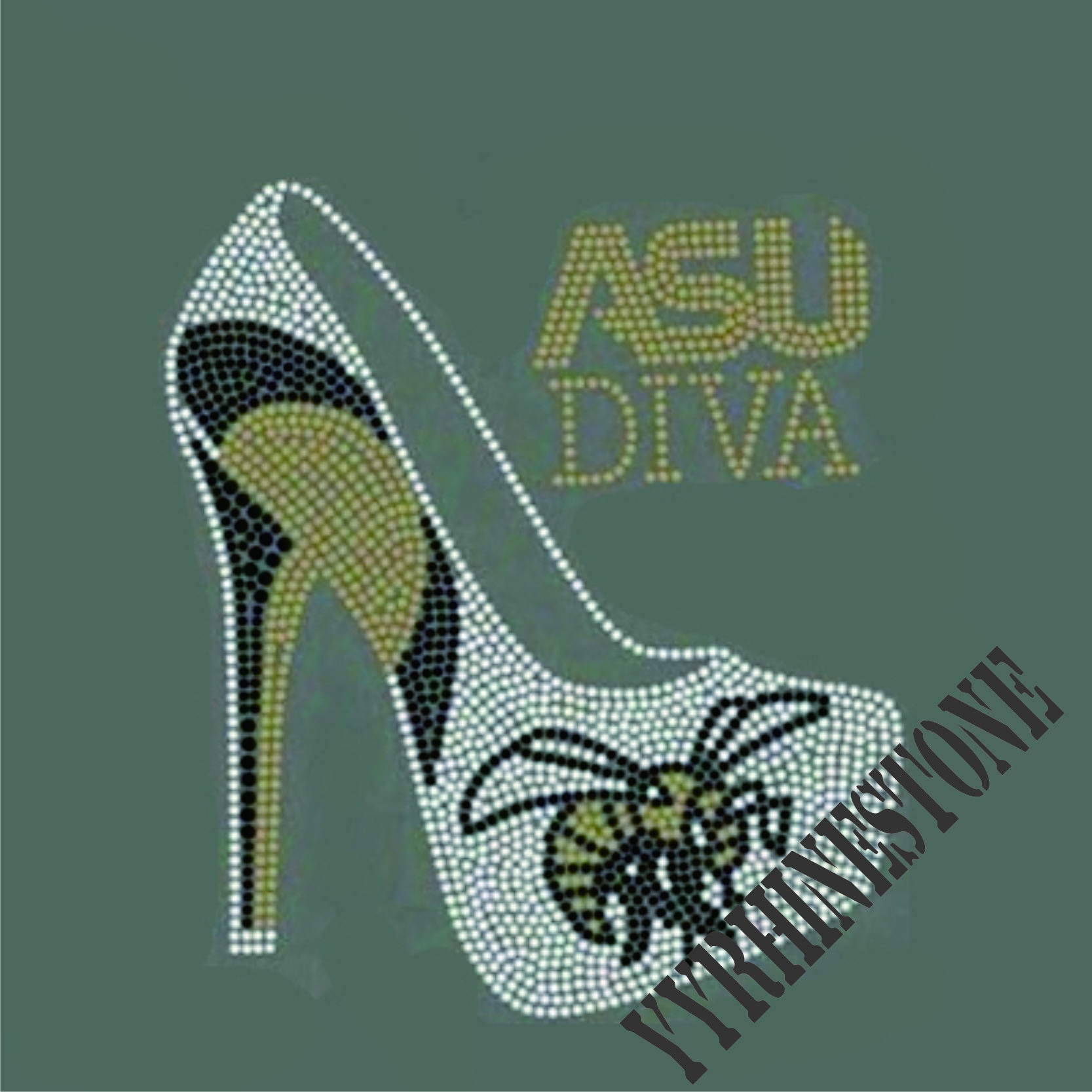ASU DIVA with high heel shoes hotfix Rhinestone transfer