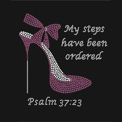 High Heel Rhinestone Transfer My Steps Have Been Orderd Hotfix Motifs