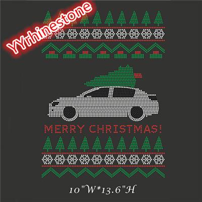 Merry Christmas Rhinestone Heat Iron On Transfer-Rhinestone