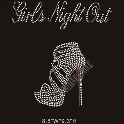 Girls night out with high heel shoes rhinestone transfer