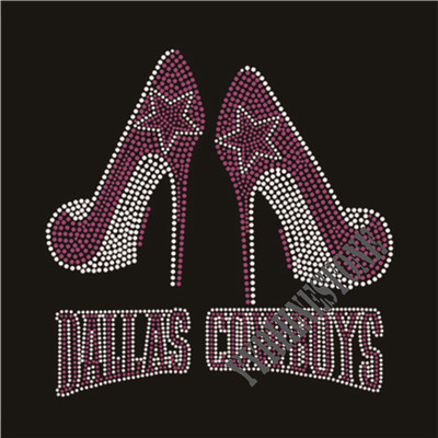 Dallas cowboys with high heel shoes rhinestone transfer